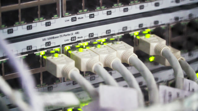 Connecting Cable And The LED Lights Blinks. The Internet Server And Server of Local Network