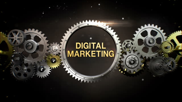 connecting gear wheels,  and make keyword,  'digital marketing' - digital marketing stock videos & royalty-free footage