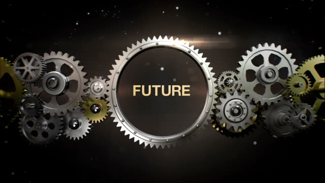 connecting gear wheels and make keyword, 'future' - business symbols stock videos & royalty-free footage