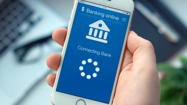 Connecting to the bank account on banking app on the smartphone video