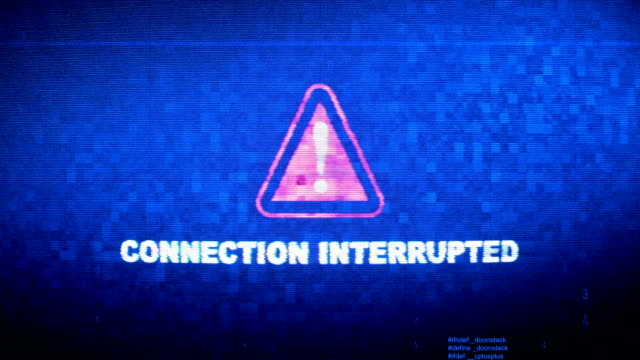 connection interrupted text digital noise twitch glitch distortion effect error loop animation. - настороженность стоковые видео и кадры b-roll