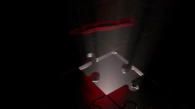 vídeos de stock e filmes b-roll de connection of the missing part of the puzzle. business concept. - quebra cabeças