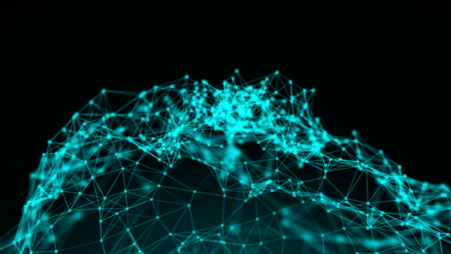 Connection structure , 3d animation abstract background with dots and lines video