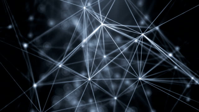 Connection Abstract web background. White lines and dots moving randomly on dark gray/black background. Seamless loop. geometric background stock videos & royalty-free footage