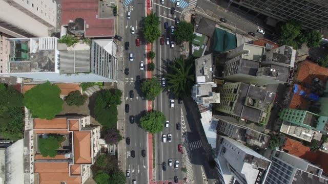 consolacao avenue in sao paulo city, brazil - são paulo video stock e b–roll