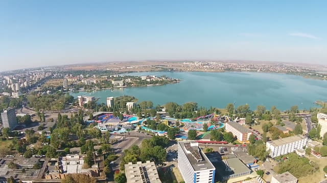 Constanta ,a major city on the Black Sea coast, Eastern Europe and  Mamaia holiday resort, a top travel destination on the Romanian seaside, aerial panning shot