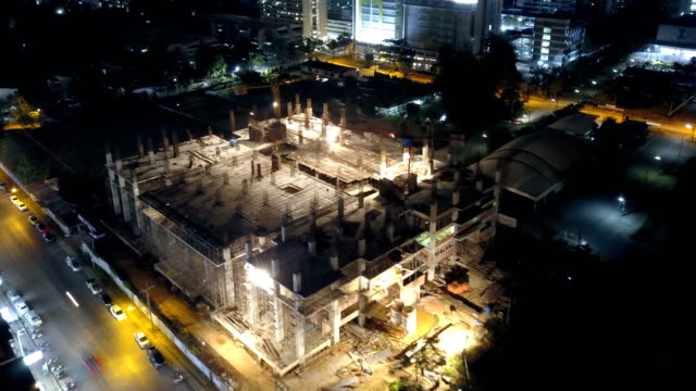 Construction: 4k Time-lapse: Aerial view of working Construction site video