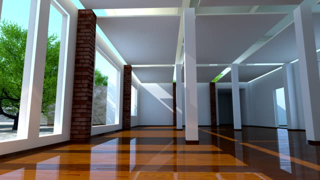Construction and building activity animation of modern interior