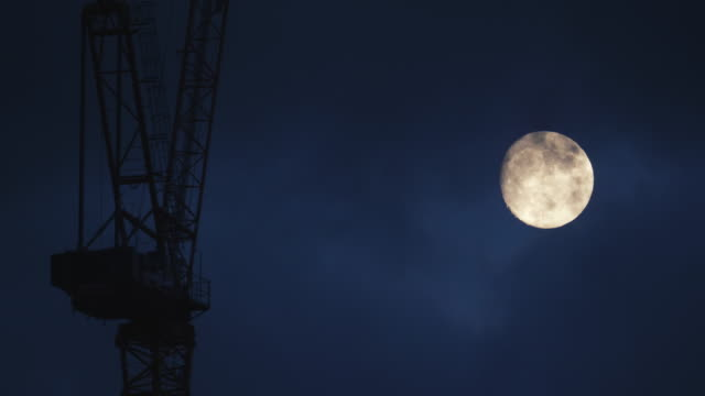 Construction Crane and a Full Moon video