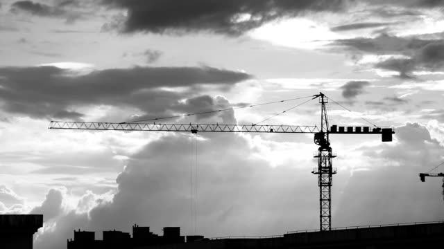 Construction crane in the clouds HD Video video