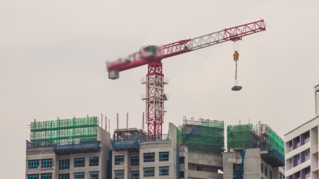 Construction crane time lapse. video