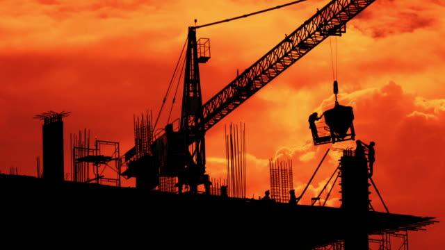 建設クレーン タイムラプス 4 k - セメント点の映像素材/bロール