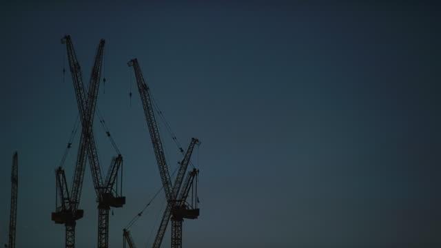 Construction Cranes at Dusk