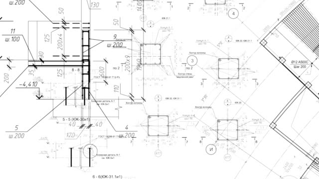 construction drawings go in perspective. loop - 插圖 個影片檔及 b 捲影像
