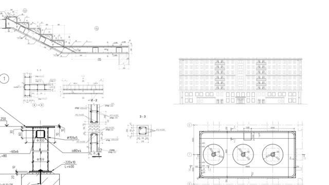 vídeos de stock, filmes e b-roll de construção de desenhos juntas agendas esquemas estimativa fundo edifício custo tempo cálculo loop sem emenda fundo looping fácil inverter fundo de cor para novos projetos - articulação humana