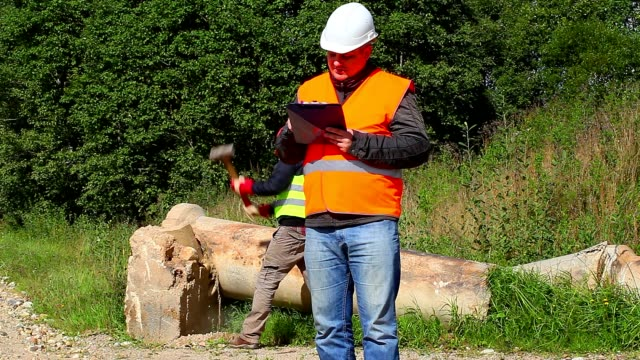 Construction Engineer with folder and worker in background Construction Engineer with folder and worker in background handbook stock videos & royalty-free footage