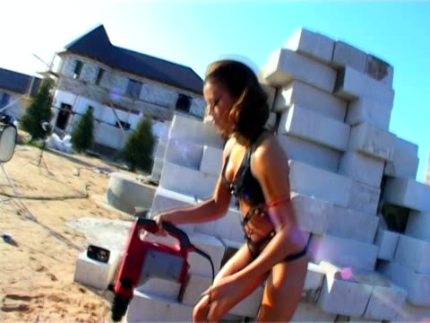 Construction Equipment in woman hand video