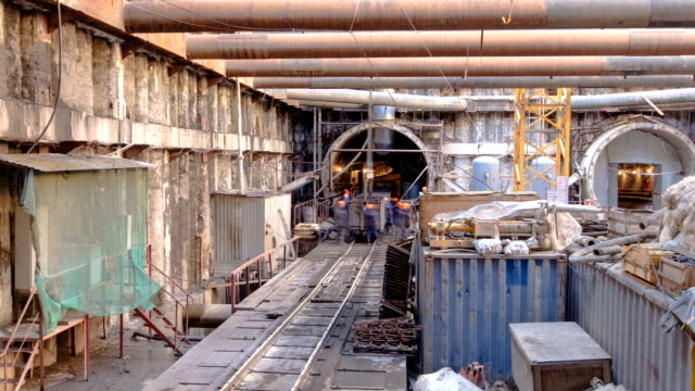 Construction of a new circular metro line. Russia, Moscow timelapse Inside building station platform at Construction of a new circular metro line. Russia, Moscow timelapse 4K archaeology stock videos & royalty-free footage