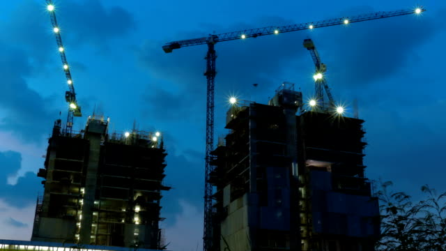Construction of buildings Timelapse at Twilight. video