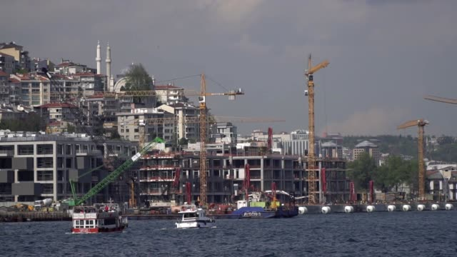 Construction of The Galata Port and Tower Cranes at Karakoy in Slow Motion