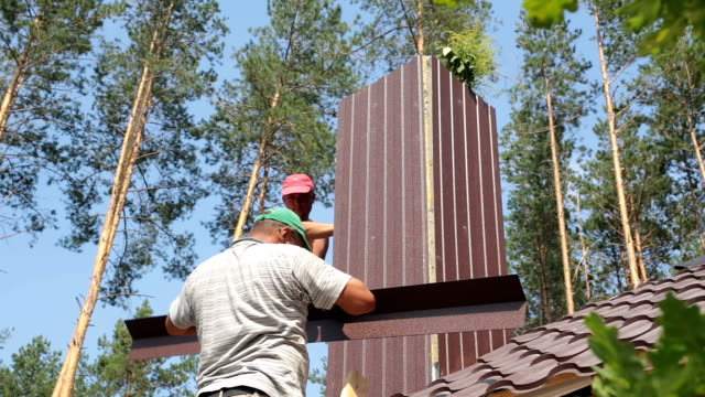 Construction of the roof of a residential building. video