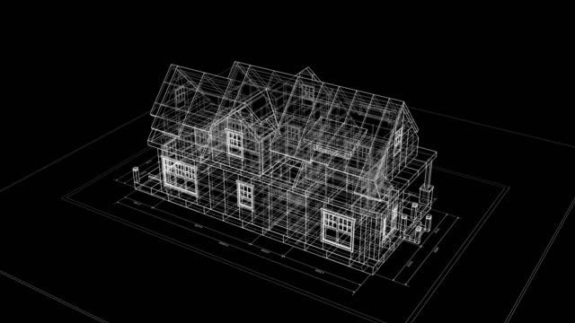 bauprozess von 3d cottage blueprint auf schwarzem hintergrundplan. 3d animation von abstrakten hausgebäude. bau-business-konzept. last turn ist loop-fähig. - landhaus stock-videos und b-roll-filmmaterial