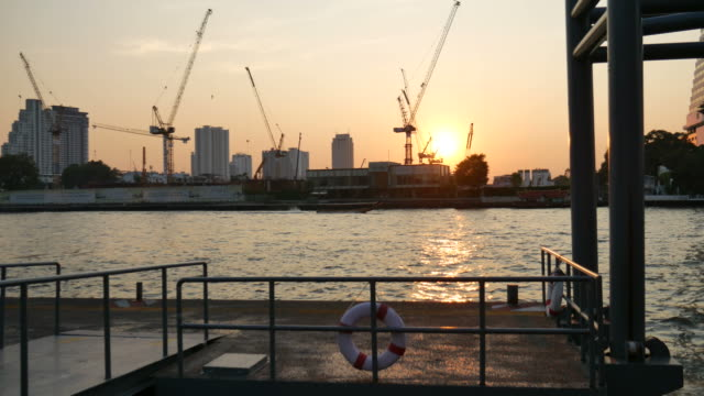 Construction site and river in Asia video