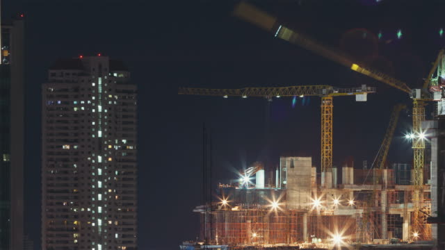 Construction Site at Night Time Lapse video