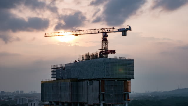 Construction Site At Sunset timelapse video