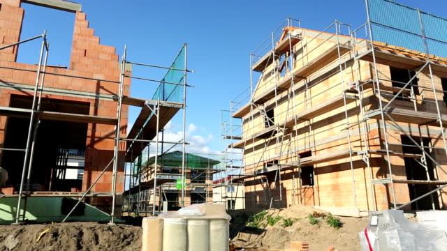 Construction site, camera pan video