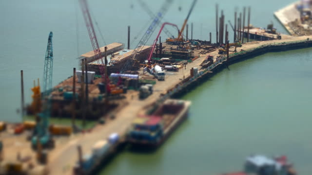 construction site time lapse with selective focus - zhuhai video stock e b–roll