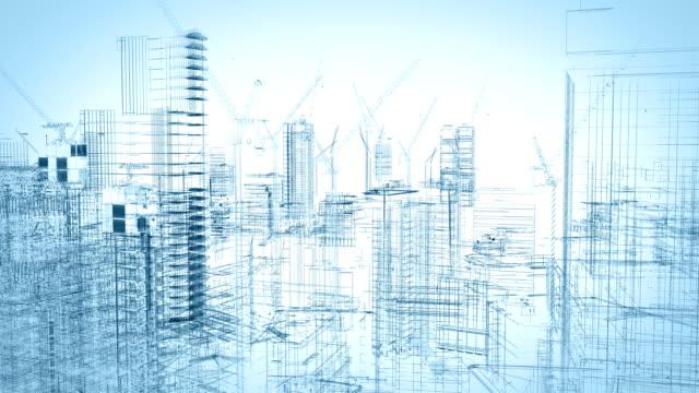 建設サイトのワイヤー フレームの概念 - 図面点の映像素材/bロール