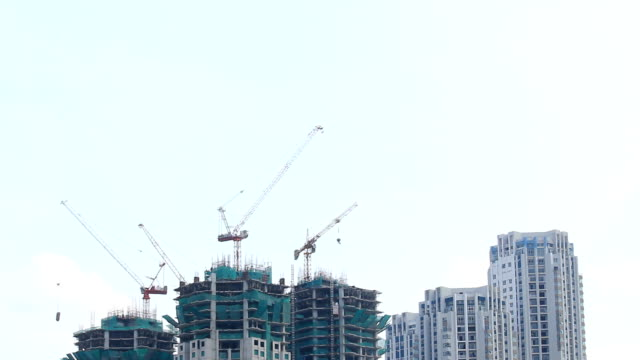 Construction site with crane building,Time lapse video