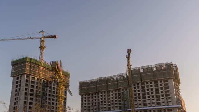 T/L WS LA RL PAN Construction with Cranes / Beijing, China video