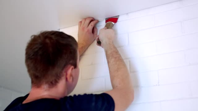 Construction work with a stretch ceiling. video