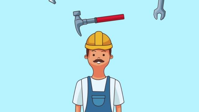byggande arbetare tecknad hd animation - hammare bildbanksvideor och videomaterial från bakom kulisserna