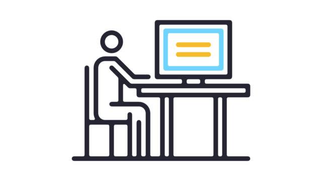 vídeos de stock e filmes b-roll de consumer protection line icon animation with alpha - shop icon