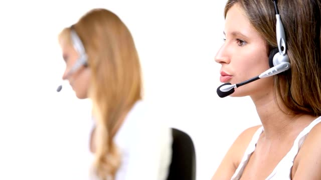 contact us female call center with headset smiling isolated on white background video