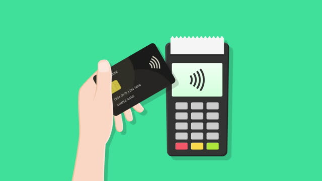 Contactless payment with animated card tapping Contactless payment. Hand tapping card at the terminal during checkout in order to pay and receipt getting printed after successful transaction. Animation in flat design. tapping stock videos & royalty-free footage