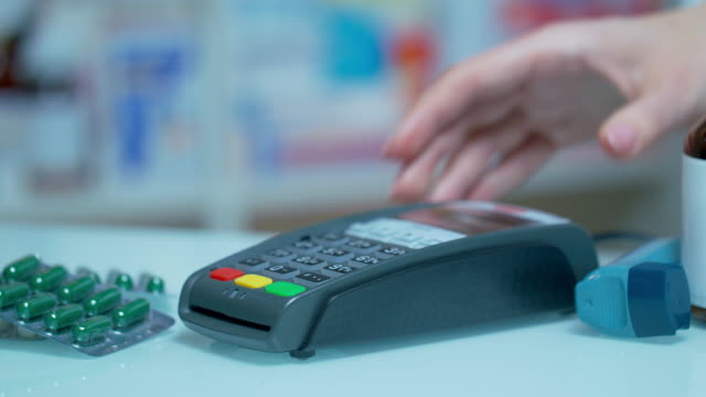Contactless payment with smartwatch. Paying for drugs with nfc technology video
