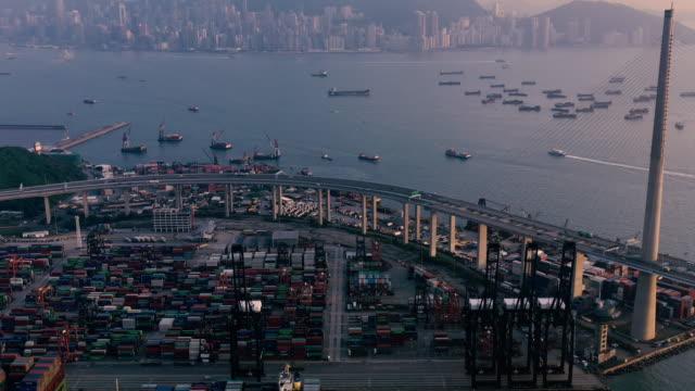 香港のコンテナ貨物貨物船ターミナル ビデオ