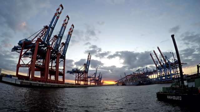 Container gantry cranes of the terminal Eurogate unloading ships in the deepwater port Hamburg-Waltershof, time lapse