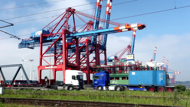 Container Harbor in Hamburg, Germany. video