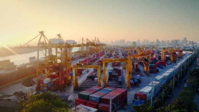 Container Port in sunset Aerial video