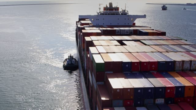 Container Ship Arrival - Aerial View