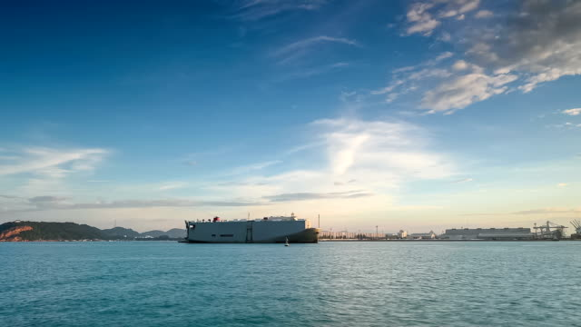 Container ship at harbour video