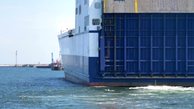 Container Ship Entering Port in 4K slow motion 60fps video