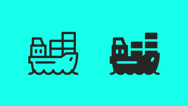 Container Ship Icons - Vector Animate