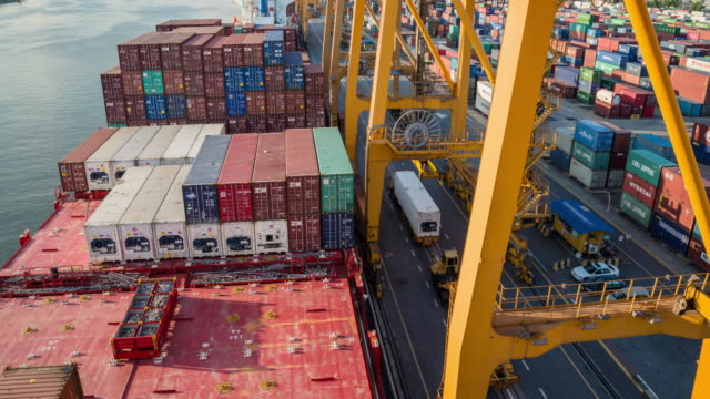 Container ship in the harbor in Asia video