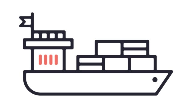 Container Ship Line Icon Animation with Alpha